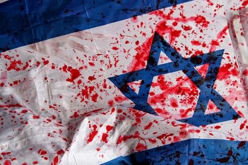 bandera Israel manchada de sangre