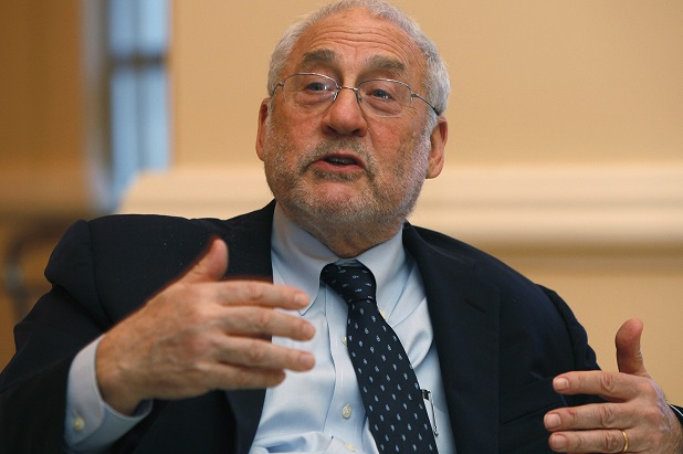 "Nobel Laureate in economics and former World Bank chief Stiglitz speaks to media after his lecture ""The Price of Inequality"" at the Center for The New Economy Annual Conference at a hotel in San Juan"