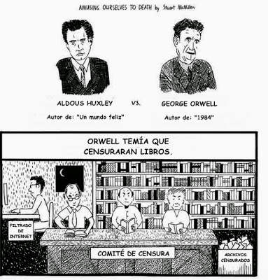 huxley v orwell Boiled down to its essence, orwell's vision of the future was one in which the government tightly controlled the flow of information, enabling it to control the thoughts of its population.