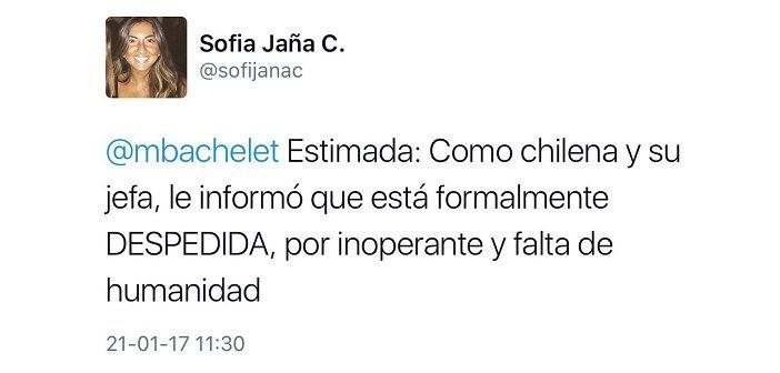 """Presidenta de la Juventud UDI hace el ridículo """"despidiendo"""" a Bachelet por twitter"""