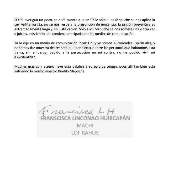 machi francisca linconao carta 2