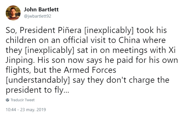periodista the guardian piñera china