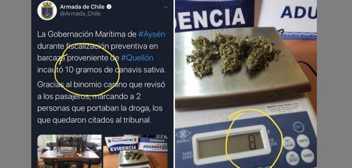 Como en el chiste del Bombo Fica: La Armada anunció el decomiso de 10 gramos de droga… La pesa sólo marcaba 8