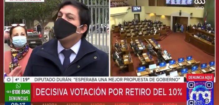 ¿Al fin nace una Derecha que defiende al pueblo? Diputado RN Jorge Durán anunció que ahora votará a favor del retiro del 10%